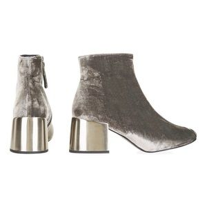Topshop   Mafia Velvet Metal Heel Ankle Boots